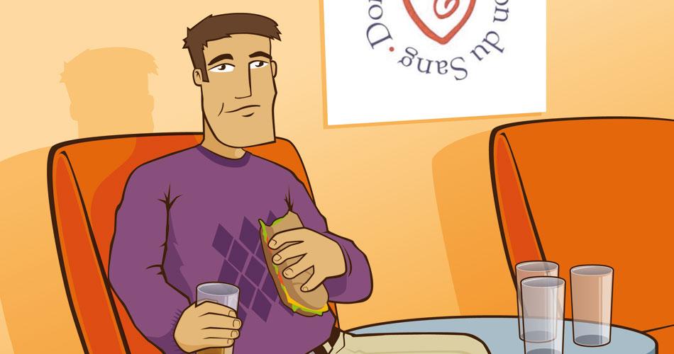Illustration pour une campagne de dons du sanh de l'EFS.